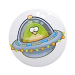Space Alien Penguin Ornament (Round)