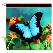 Blue Butterfly on Orange Lantana Flowers Painting