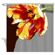 Abstract Orange Gold Parrot Tulip Shower Curtain