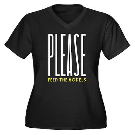 Please Feed the Models Women's Plus Size V-Neck Da