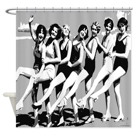 Vintage Women on Beach Shower Curtain