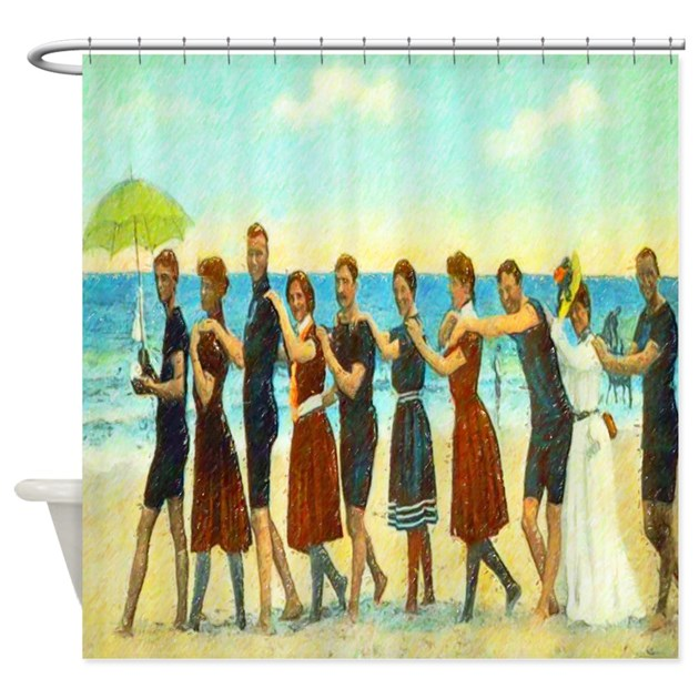 Vintage Beach Dance Shower Curtain By Rebeccakorpita