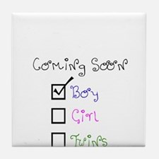 Coming Soon Baby Boy Tile Coaster
