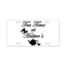 Tea Time at Hatters Aluminum License Plate