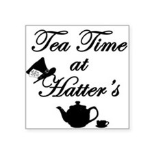 "Tea Time at Hatters Square Sticker 3"" x 3"""