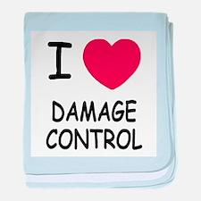 I heart damage control baby blanket
