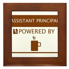 Assistant Principal Powered by Coffee Framed Tile