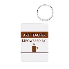 Art Teacher Powered by Coffee Aluminum Photo Keych