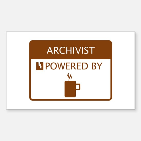 Archivist Powered by Coffee Sticker (Rectangle)