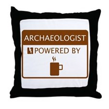 Archaeologist Powered by Coffee Throw Pillow