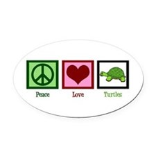 Peace Love Turtles Oval Car Magnet