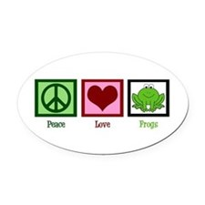 Peace Love Frogs Oval Car Magnet