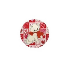 Cute Kitten on Red and pink love hearts pattern Mi