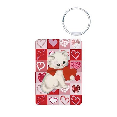 Valentines hearts white kitten Aluminum Photo Keyc