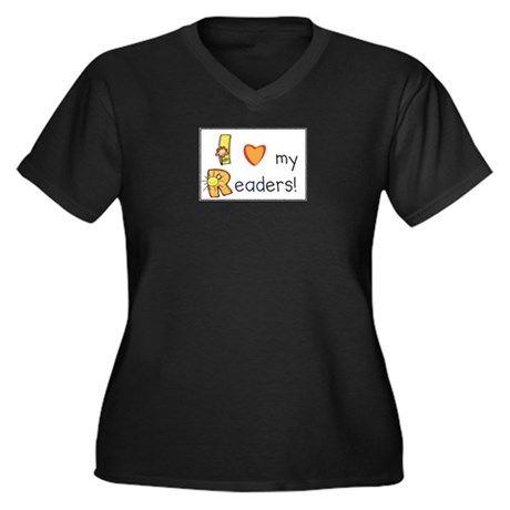 I Love My Readers! Women's Plus Size V-Neck Dark T