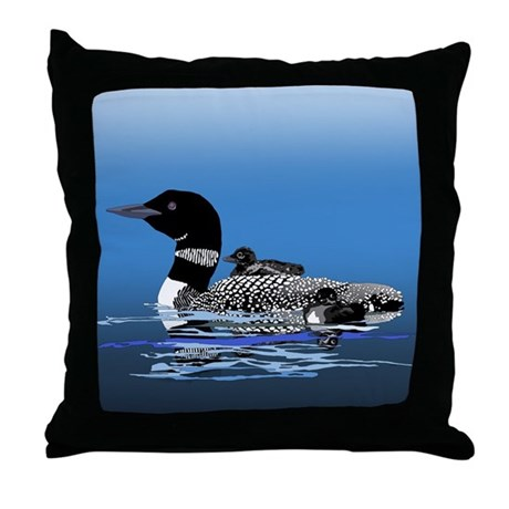 loon with babies Throw Pillow