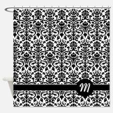 damask pattern monogram Shower Curtain
