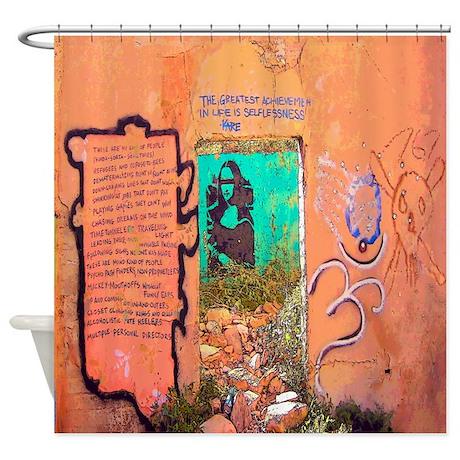Madona in Wall Graffiti Shower Curtain