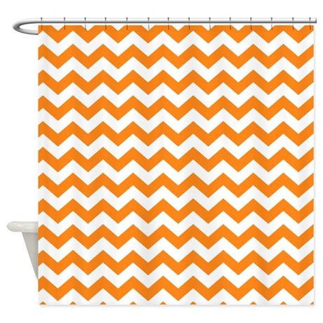 chevron pattern orange Shower Curtain