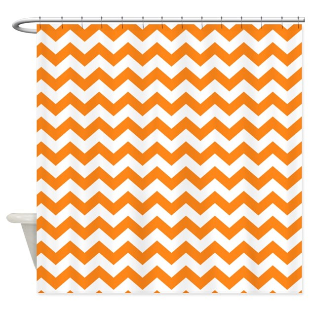 Chevron Pattern Orange Shower Curtain By MarshEnterprises