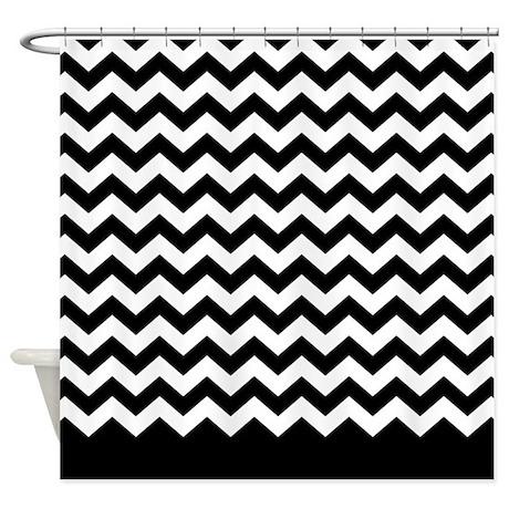 chevron pattern black Shower Curtain