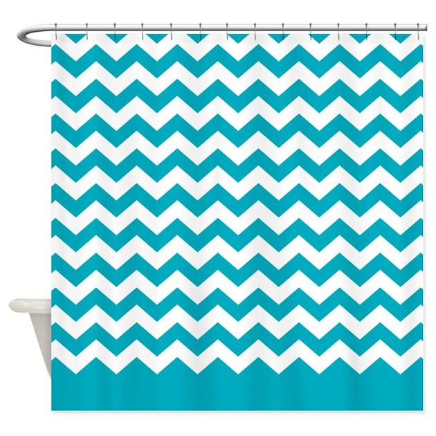chevron pattern teal Shower Curtain by MarshEnterprises