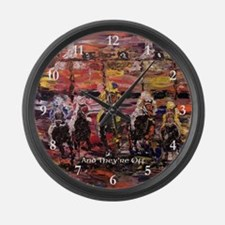 And They're Off Large Wall Clock