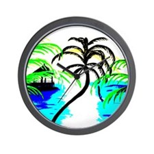 Tropical Palm Tree Wall Clock