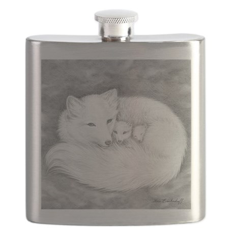 Arctic Fox Family ~ Flask