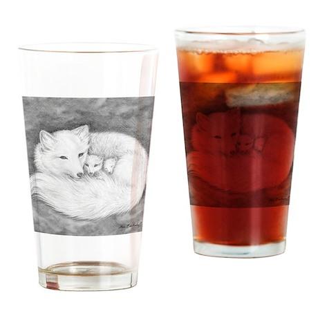 Arctic Fox Family ~ Drinking Glass