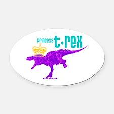 Princess T-Rex Oval Car Magnet