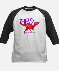 Hot Pink T-Rex Kids Baseball Jersey