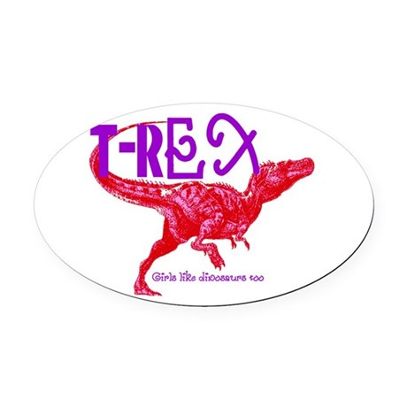 Hot Pink T-Rex Oval Car Magnet