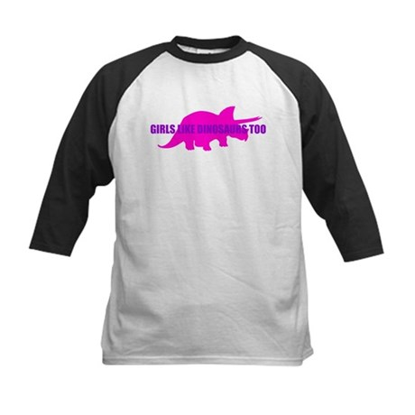 Girls Like Dinosaurs Too - Triceratops Kids Baseba