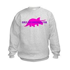 Girls Like Dinosaurs Too - Triceratops Sweatshirt
