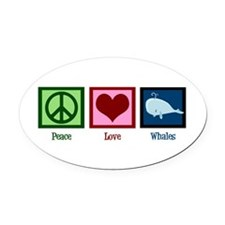 Peace Love Whales Oval Car Magnet