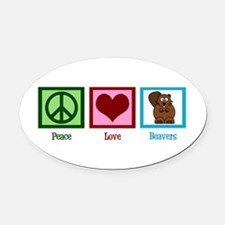 Peace Love Beavers Oval Car Magnet