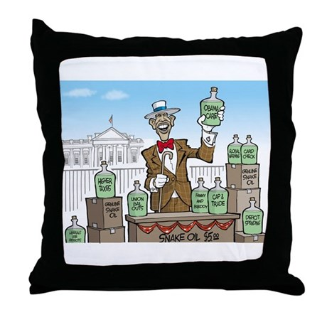 Anti Obama Snake Oil Salesman Throw Pillow