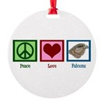 Peace Love Falcons Round Ornament