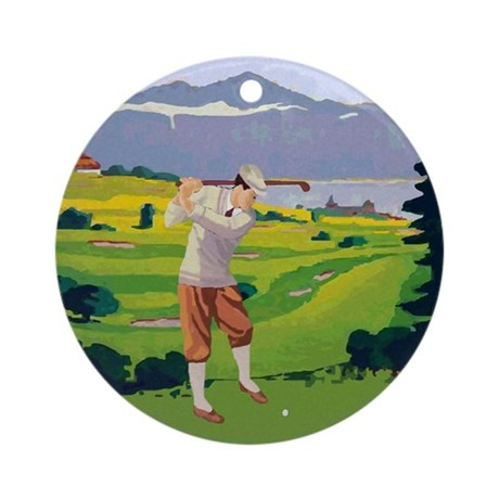 Vintage Style golf Highlands Golfing Scene Ornamen