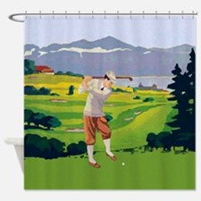 Vintage Style golf Highlands Golfing Scene Shower