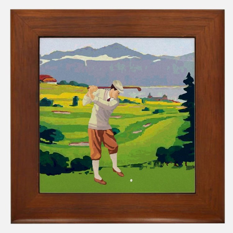Vintage Style golf Highlands Golfing Scene Framed