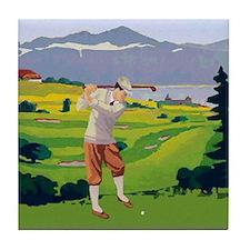 Vintage Style golf Highlands Golfing Scene Tile Co