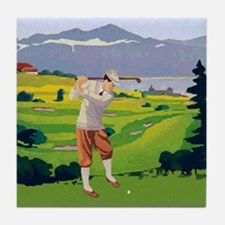 Vintage Style golf Highlands Golfing Scene Tile Co