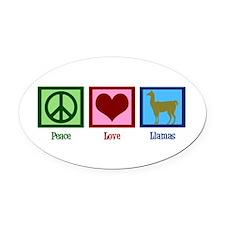 Peace Love Llamas Oval Car Magnet