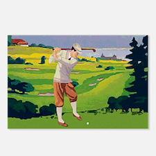 Vintage Golf Style Highlands Golfing Scene Postcar