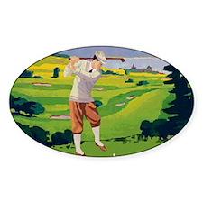 Vintage Golf Style Highlands Golfing Scene Decal