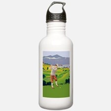 Vintage Style Highlands Golfing Scene Water Bottle