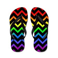 Rainbow and Black Chevrons Flip Flops