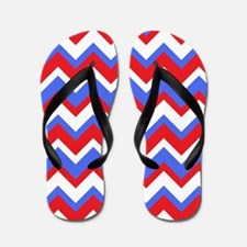 Red White and Blue Chevrons Flip Flops